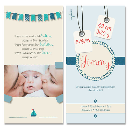 Geburtskarte Jimmy