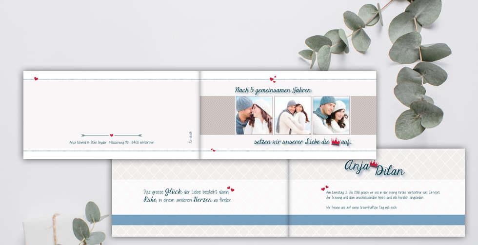 Individuelle Hochzeitskarten gestalten, Hochzeitskarte Anja-Dilan l online l Schweiz
