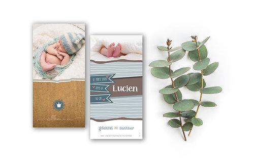 Geburtskarte Lucien mit Folienprägung
