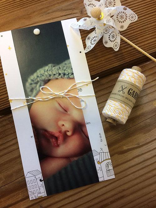 Geburtskarte mit Fotoanhänger Klara