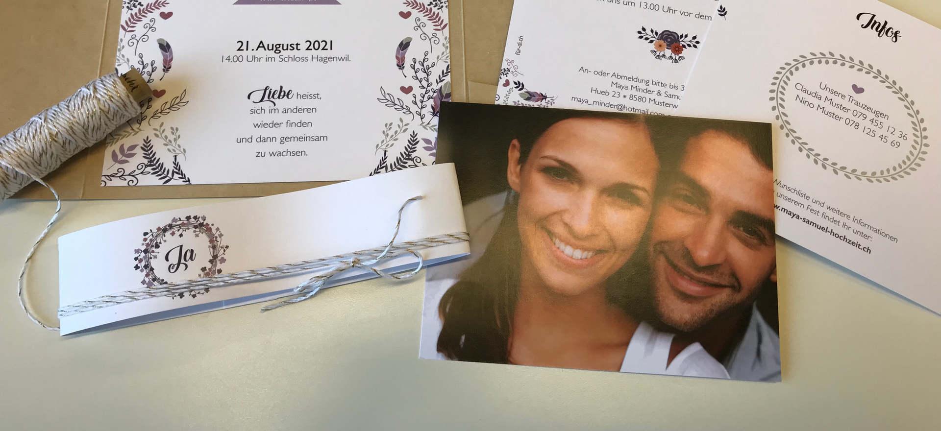 Einladungskarten für Ihre Traumhochzeit von fuer-di.ch
