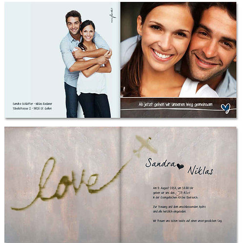 Hochzeitskarte Sandra-Niklas