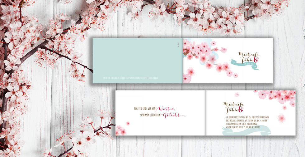 Individuelle Hochzeitskarten gestalten, Hochzeitskarte Michaela-Fabio l online l Schweiz