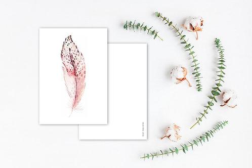 Grusskarte A6 Federn rosa