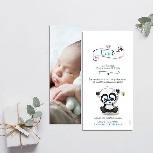 Geburtskarte mit Fotoanhänger Ennio