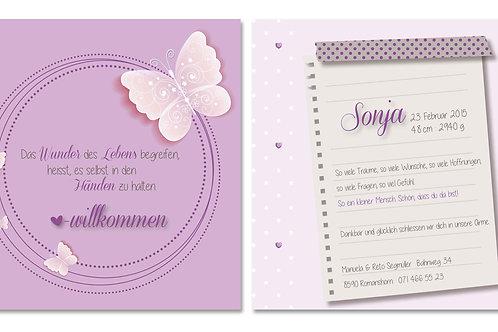Geburtskarte Sonja