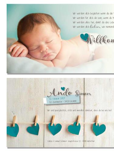 wunderschöne Geburtskarte Ando