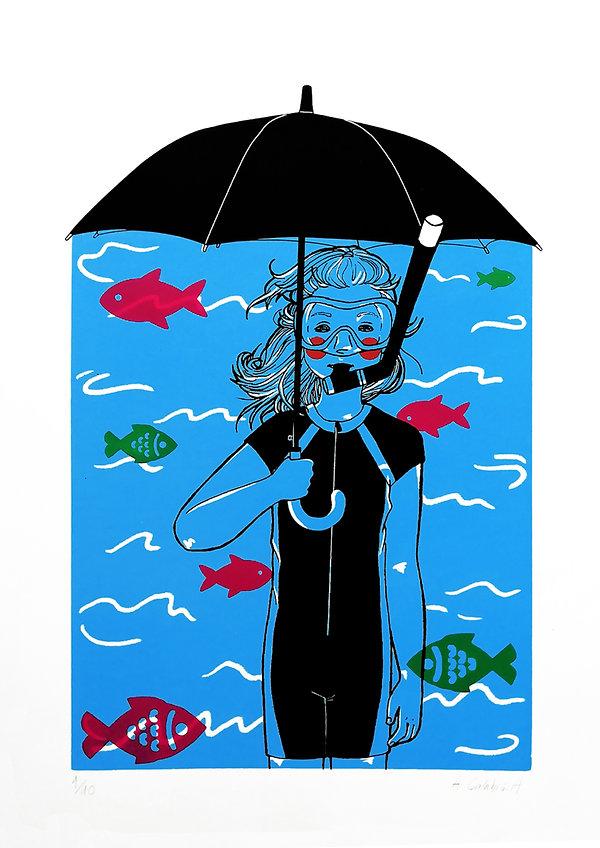 Umbrella Snorkelling girl child fish