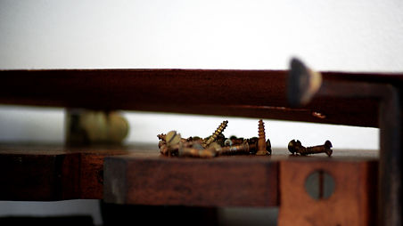 Screws piano dismantled rusty