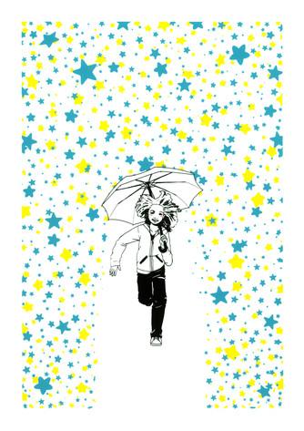 Umbrella girl running