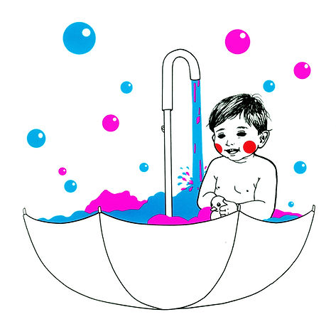 Umbrella Bubble Bath Baby Child Pink Blue