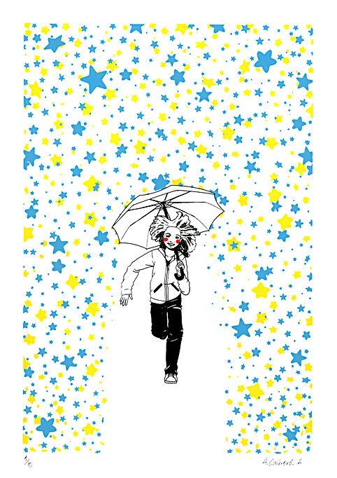 Umbrella Stars Rain Girl Child