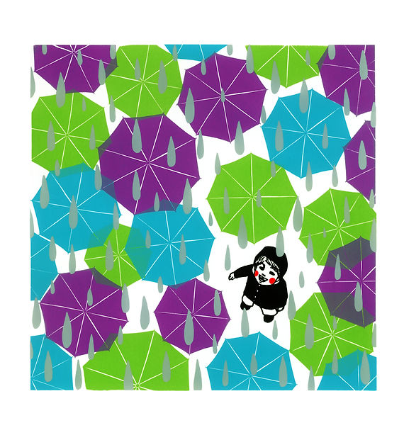 Umbrellas colorfull litttle boy child