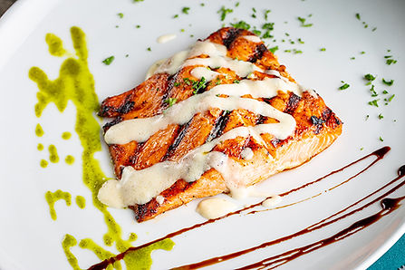 Delicious grilled salmon with sauce