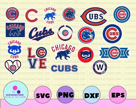 Chicago Cubs Cut Files, SVG Files, Baseball Clipart, Cricut Chicago Cubs Cutting