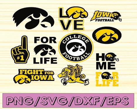 Iowa Hawkeyes Football svg, football svg, silhouette svg, cut files, NCAA