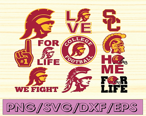 USC Trojans Football svg, football svg, silhouette svg, cut files, NCAA