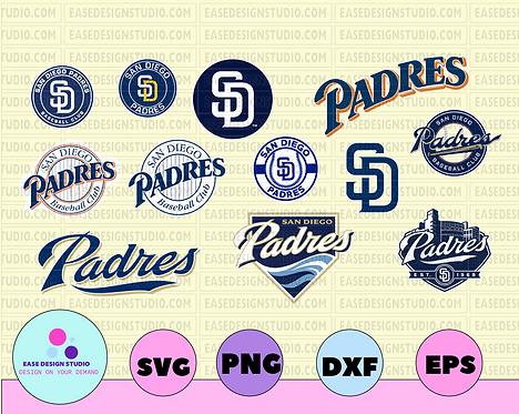 San Diego Padres Cut Files, SVG Files, Baseball Clipart, Cricut San Diego Padres