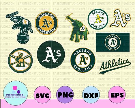 Oakland Athletics Cut Files, SVG Files, Baseball Clipart, Cricut Oakland