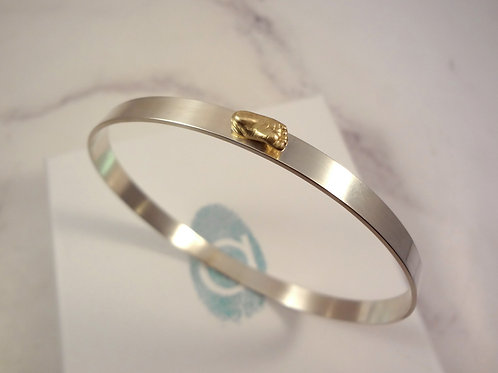 Bangle with Miniature Baby Casting Ring in Gold or Silver