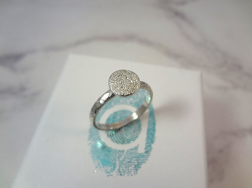 Medium Pet Print Ring in Silver with Silver D Band