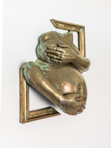 Brass pregnancy bump cast body casting bespoke sculpture
