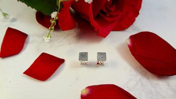 Square fingerprint earrings in sterling silver