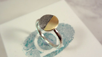 Paw pad ring with gold & silver pet jewellery