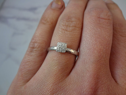 Mini Pet Print Ring in Silver with Silver D Band
