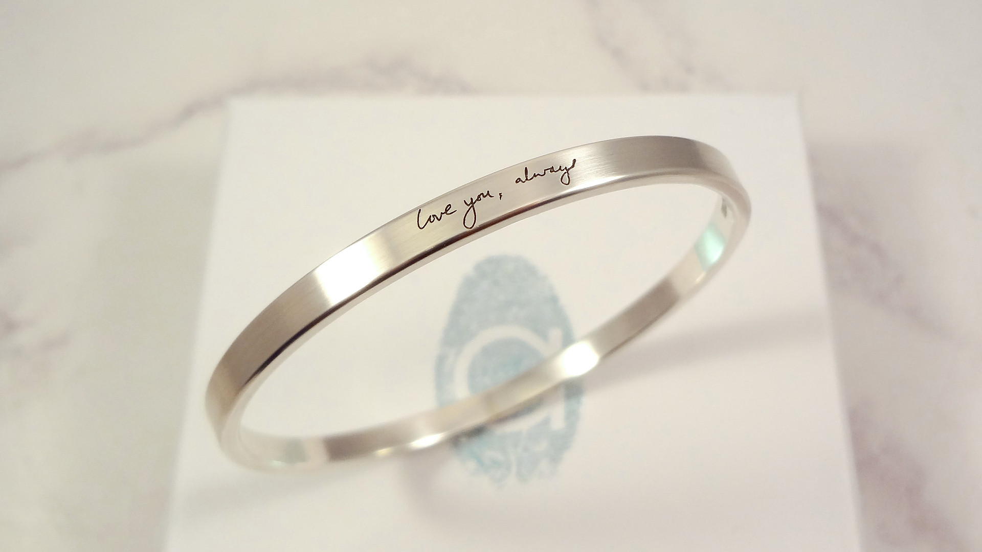 Love you always bangle with personalised handwriting