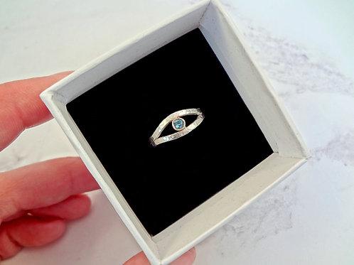 Evil Eye Ring Organic Sterling Silver & Sapphire Rose Gold Ring