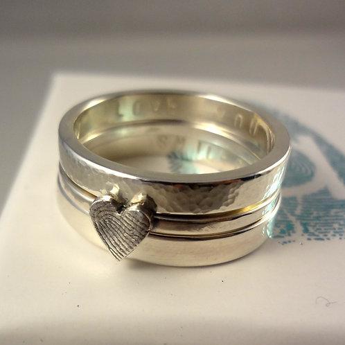 Chunky Stacking Fingerprint Silver Ring