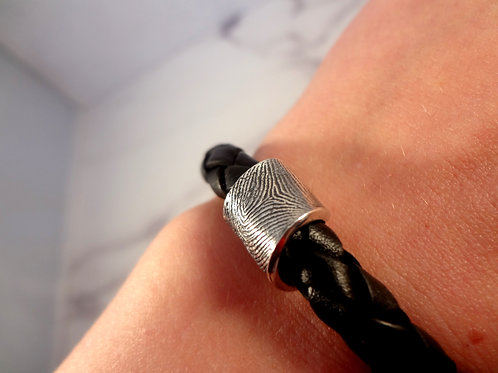 Handwritten Word & Fingerprint Curl with Braided Leather Bracelet