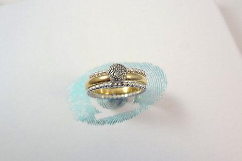 Pet Print Beaded Gold Ring Set
