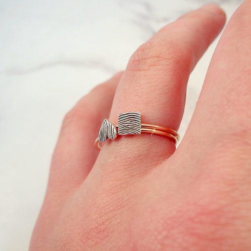Skinny Fingerprint Double Stacking Ring Set