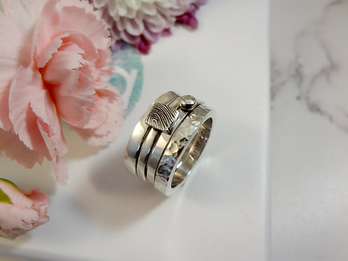 Chunky Stacking Fingerprint & Gemstone Ring Set