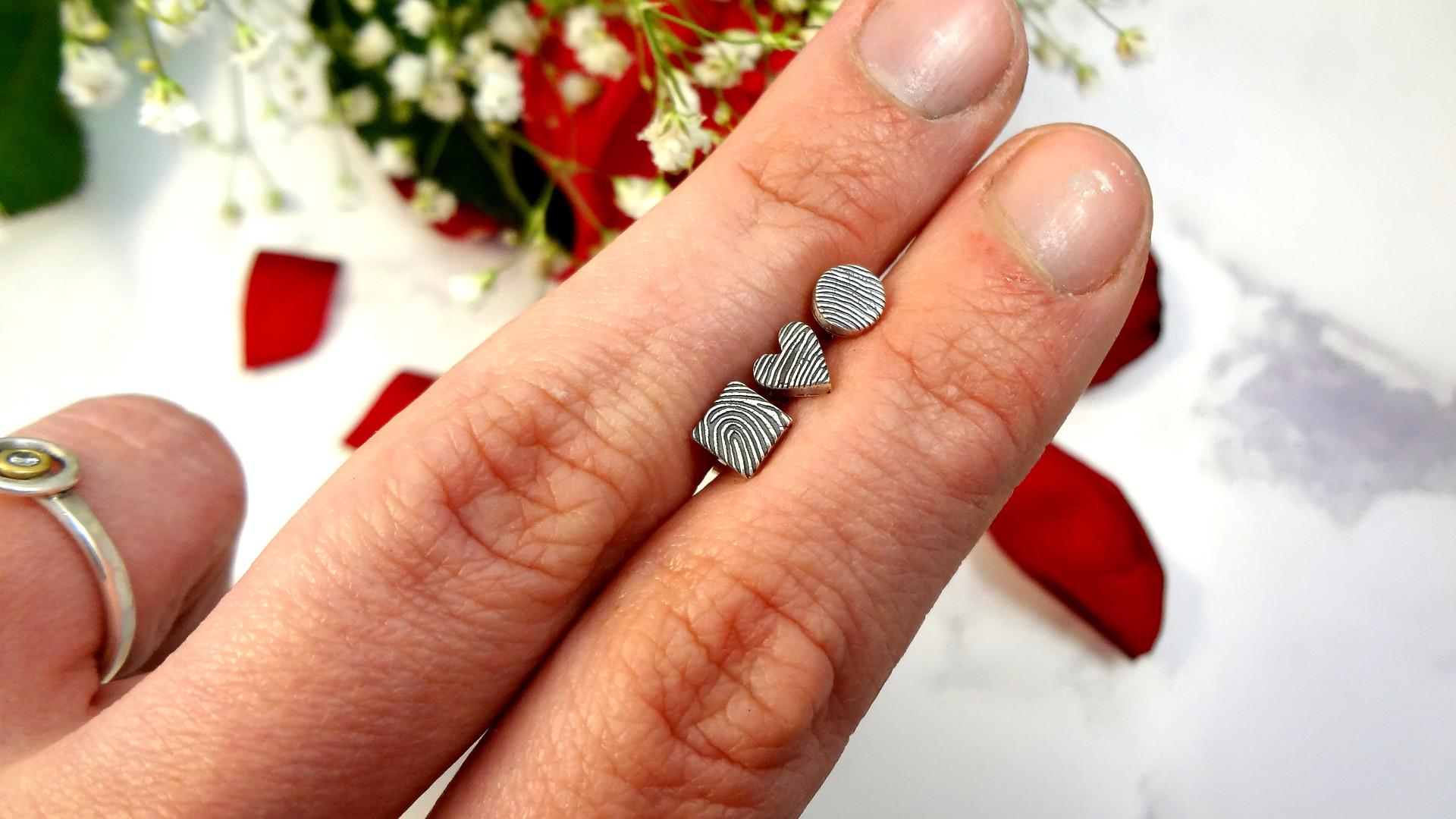 Dainty fingerprint earrings design your own