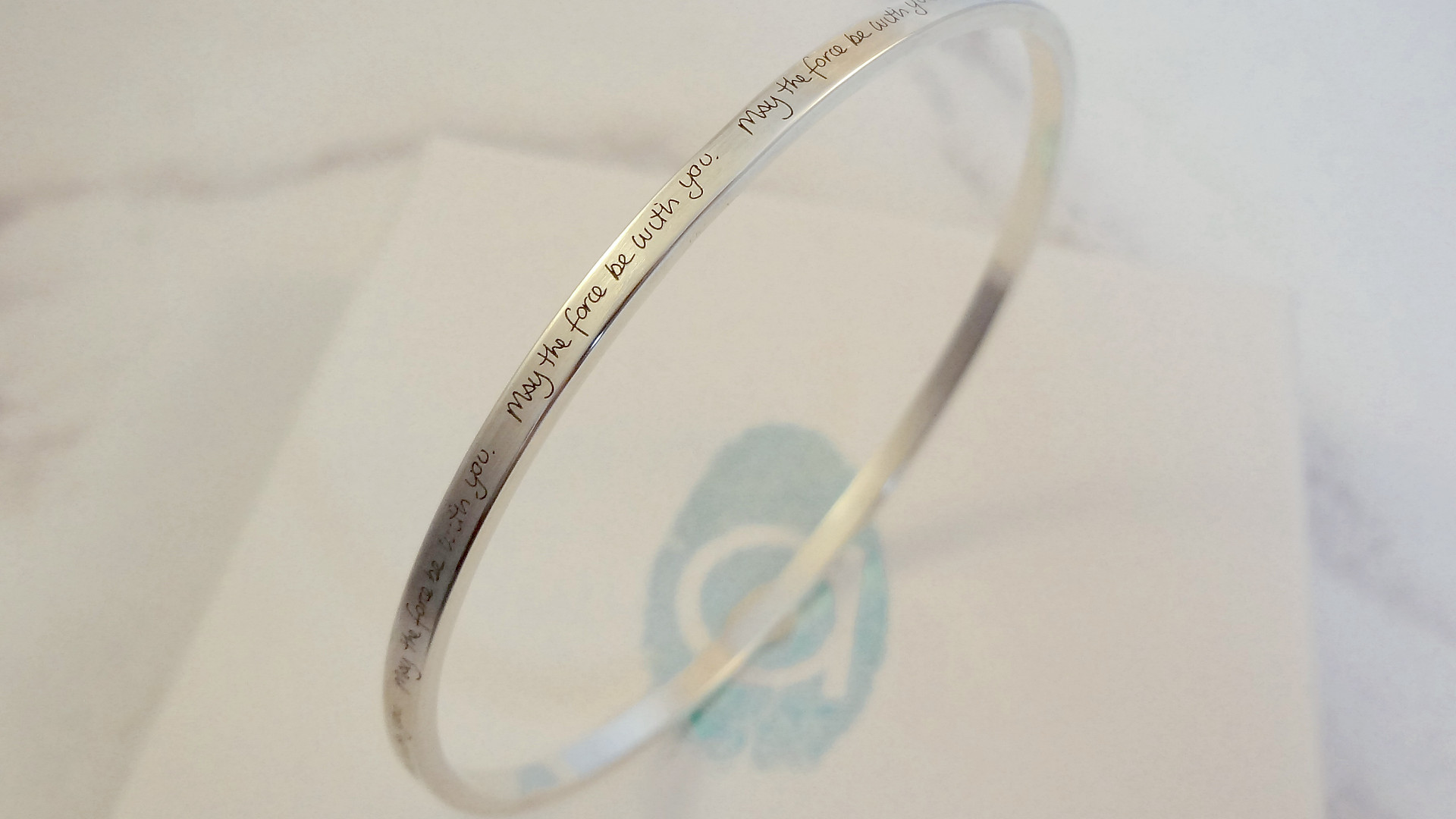 Handwriting engraved message bangle