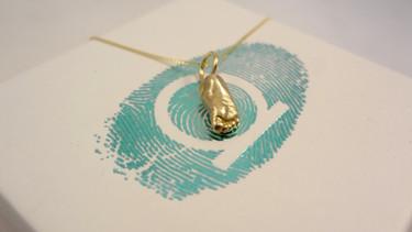 miniature gold foot pendant manchester & london