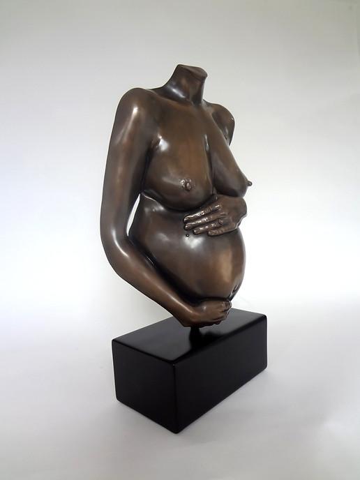 Miniature pregnancy life casting in bronze