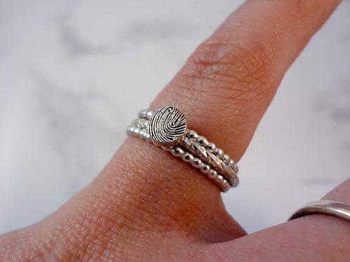 Fingerprint Beaded Silver Ring Set