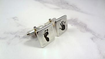 Handprint Cufflinks gift for dad
