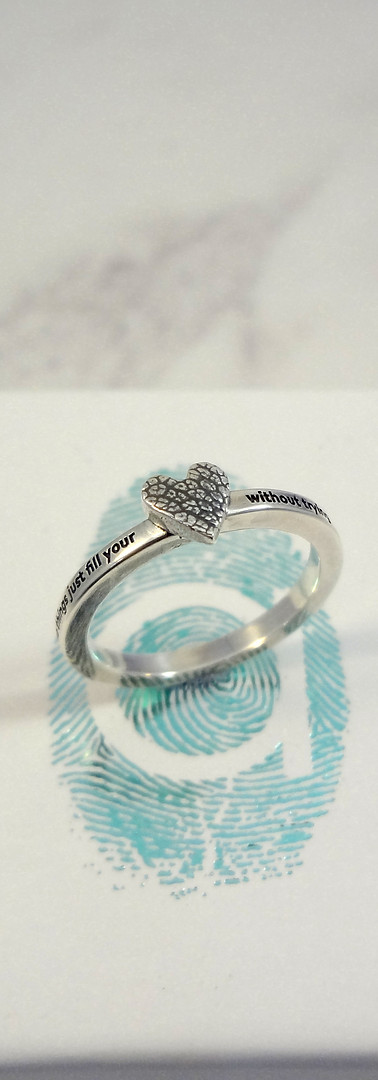 Paw Print ring with engraved quote in Sterling Silver