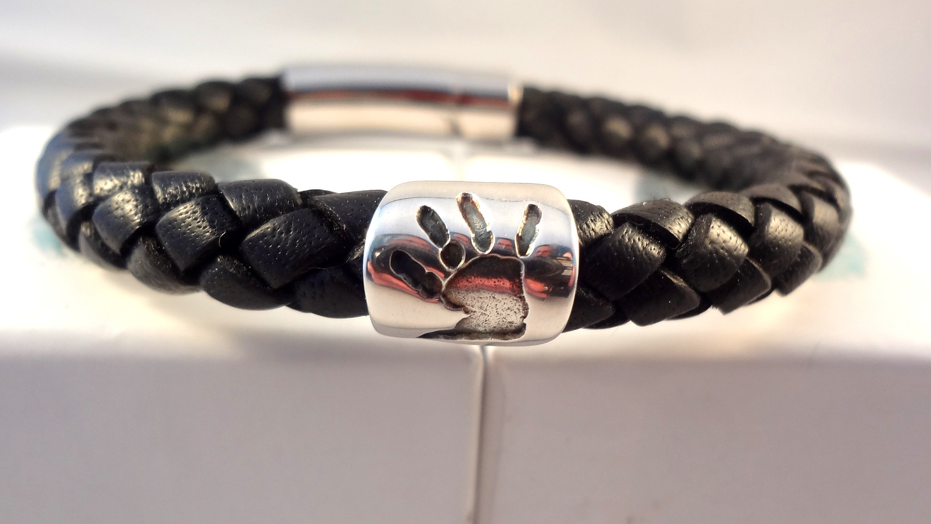 Handprint leather bracelet