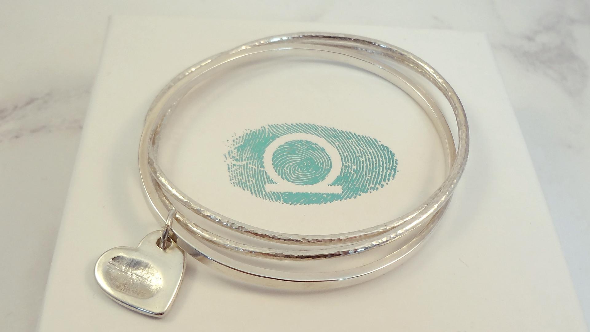 Bangle set with heart fingerprint set