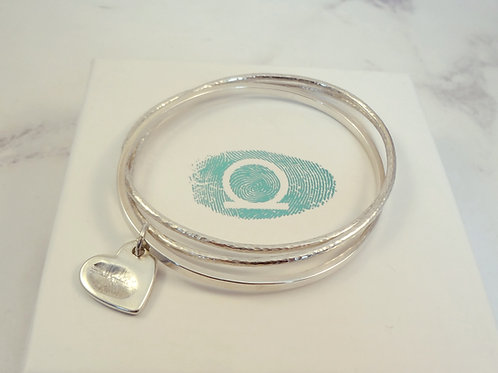 Oval Triple Entwined Sterling Silver Bangle set with a Fingerprint Charm