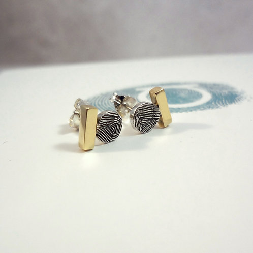 Gold Bar Fingerprint Earrings