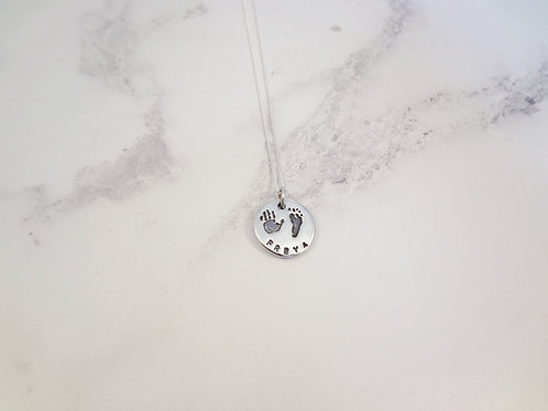 Handprint & Footprint Necklace in Sterling Silver