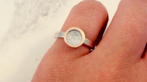 Gold bubble fingerprint ring