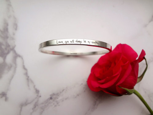 Handwritten Message Bangle in Sterling Silver